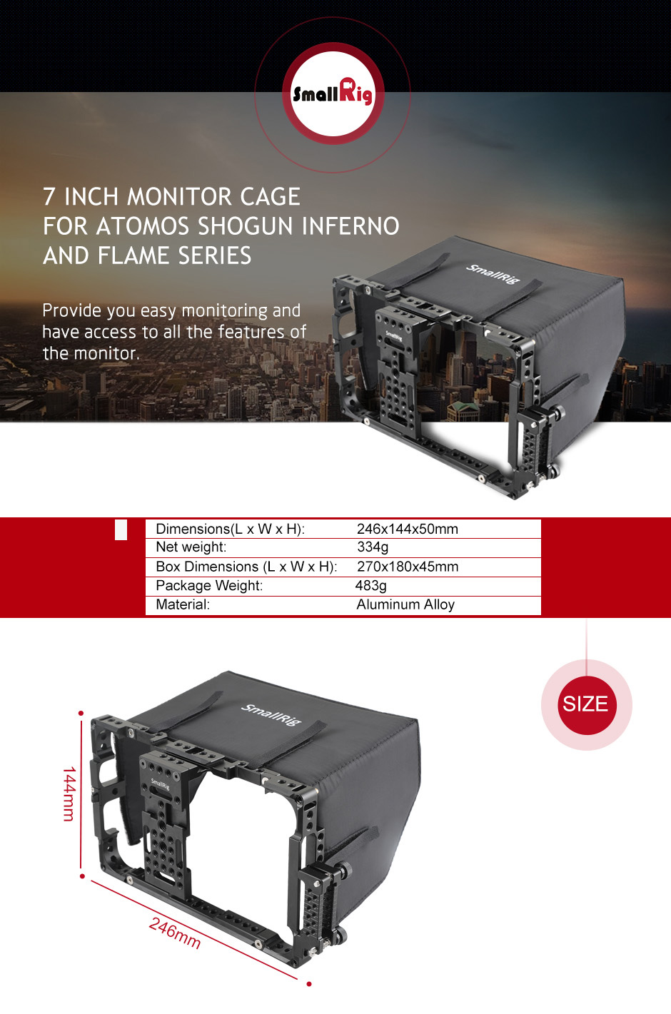 7 inch monitor cage
